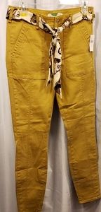 NWT Anthropologie Trousers with Floral Sash Belt